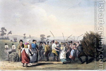Rape Threshing, from 'The Costume of Yorkshire' engraved by Robert Havell (1769-1832) 1814 by (after) Walker, George - Reproduction Oil Painting