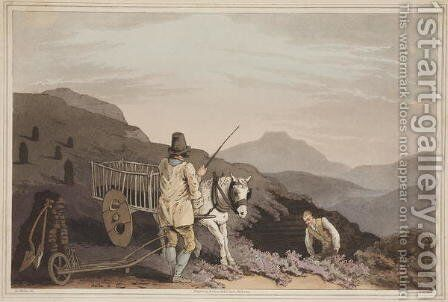 The Peat Cart, from The Costume of Yorkshire, engraved by Robert Havell, 1814 by (after) Walker, George - Reproduction Oil Painting