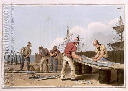 Whalebone Scrapers, engraved by Robert Havell the Elder, published 1814 by Robinson and Son, Leeds by (after) Walker, George - Reproduction Oil Painting