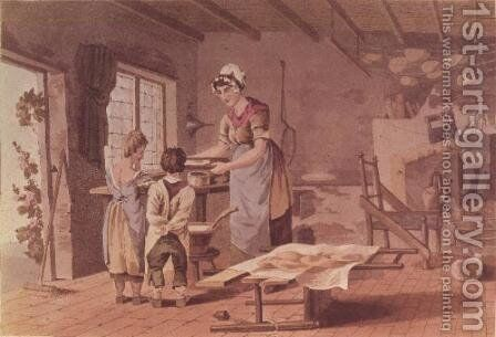 Making oat cakes, engraved by the Havell Brothers, pub. 1813 by Robinson and Son by (after) Walker, George - Reproduction Oil Painting