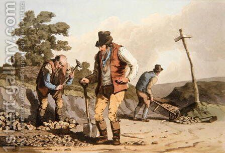 Stone Breakers, from Costume of Yorkshire engraved by Robert Havell (1769-1832) 1814 by (after) Walker, George - Reproduction Oil Painting
