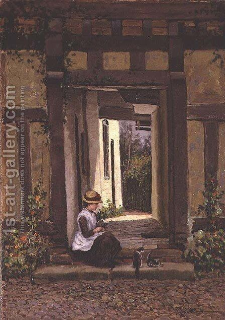 On the Steps by Harry Wallace - Reproduction Oil Painting