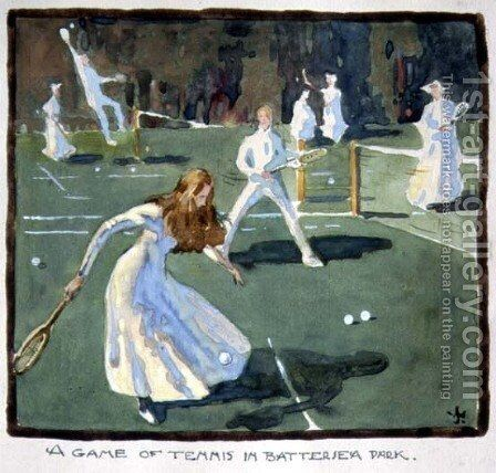A Game of Tennis in Battersea Park by James Wallace - Reproduction Oil Painting
