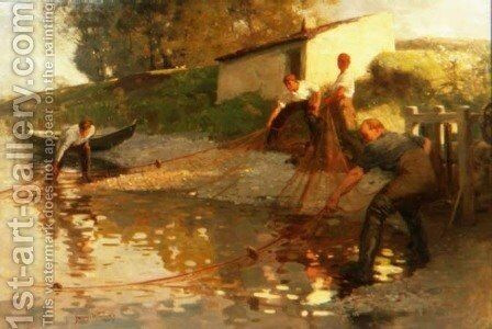 Tweed Salmon Fishers, 1907 by James Wallace - Reproduction Oil Painting