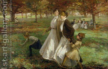 Autumn in Kensington Gardens by James Wallace - Reproduction Oil Painting