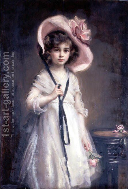 Portrait of Nancy, Daughter of Arthur Tooth by Mary Lemon Waller - Reproduction Oil Painting