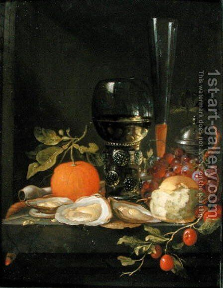 Still Life of Oysters, Grapes, Bread and Glasses on a Ledge by Jacob van Walscapelle - Reproduction Oil Painting