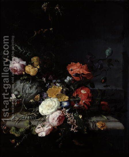 Still Life with Flowers and Insects by Jacob van Walscapelle - Reproduction Oil Painting