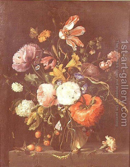 Flowers in a Glass Vase, c.1670 by Jacob van Walscapelle - Reproduction Oil Painting