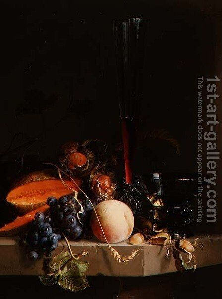 Still life of fruit on a ledge with a roemer and a wine glass by Jacob van Walscapelle - Reproduction Oil Painting
