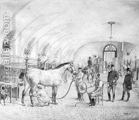 The Royal Stables: morning grooming by Adele Walter - Reproduction Oil Painting