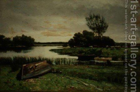 Lake with Rowing Boats by Edward Arthur Walton - Reproduction Oil Painting