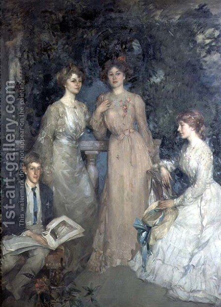 A Group Portrait of Robert, Gertrude, Phyllis and Jessie Lindsay Watson, 1903 by Edward Arthur Walton - Reproduction Oil Painting