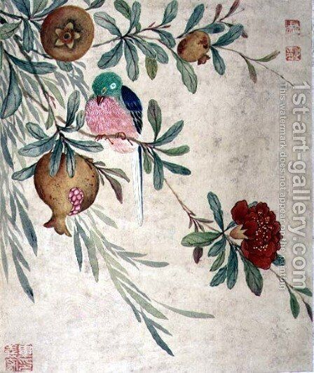 One of a series of paintings of birds and fruit, late 19th century by Guoche Wang - Reproduction Oil Painting