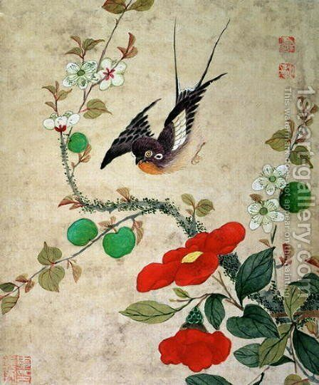 One of a series of paintings of birds and fruit, late 19th century 3 by Guoche Wang - Reproduction Oil Painting