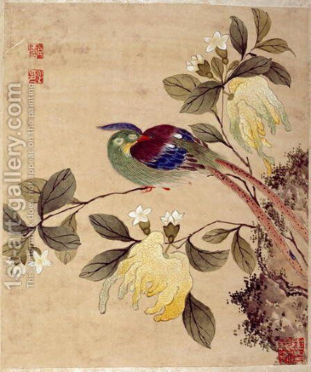 One of series of paintings of birds and fruit, late 19th century by Guoche Wang - Reproduction Oil Painting