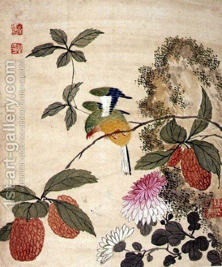 One of a series of paintings of birds and fruit, late 19th century 7 by Guoche Wang - Reproduction Oil Painting