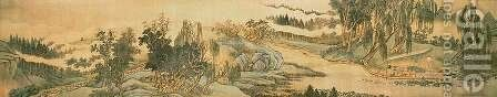 Handscroll depicting a landscape with the colophon poem, 'Fishing in Willow Brook', Chinese, 1706 by Hui Wang - Reproduction Oil Painting