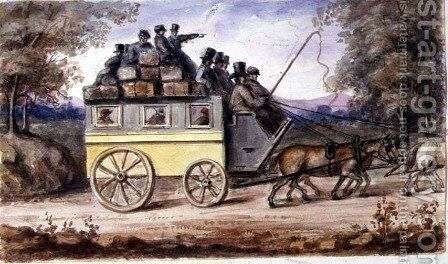 The journey from Spalding to Wisbech, 1851 by Nicholas (Felix) Wanostrocht - Reproduction Oil Painting
