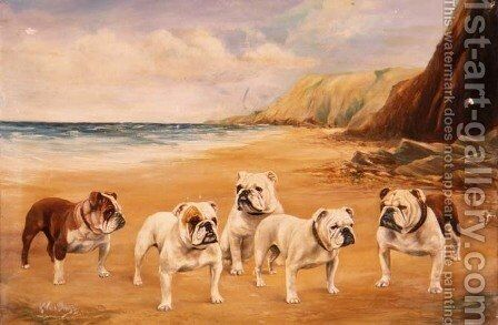 A Quintet of Bulldogs on a Beach by Binks, R. Ward - Reproduction Oil Painting