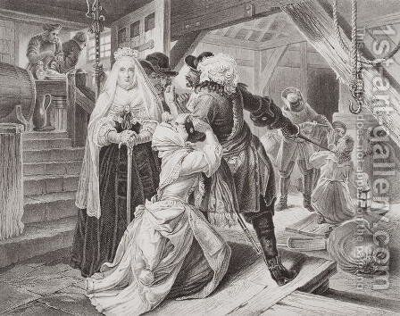 The arrest of Alice Lisle for sheltering fugitives from the Battle of Sedgemoor in 1685, from Illustrations of English and Scottish History Volume I by (after) Ward, Edgar Melville - Reproduction Oil Painting