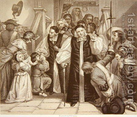 The Release of Seven Bishops after their trial in Westminster Hall, 29th June 1688, engraved by H.Bourne by (after) Ward, Edgar Melville - Reproduction Oil Painting
