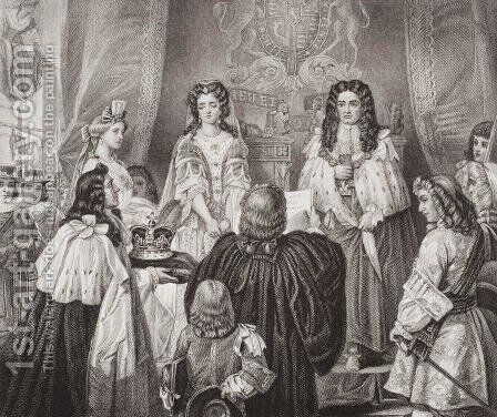 The crown offered to William and Mary by the Lords and Commons at Whitehall, February 12, 1689, from Illustrations of English and Scottish History Volume II by (after) Ward, Edgar Melville - Reproduction Oil Painting