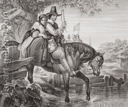 Charles II (1630-85) in disguise, aided in his escape by Jane Lane after defeat at the Battle of Worcester in 1651, from Illustrations of English and Scottish History Volume I by (after) Ward, Edgar Melville - Reproduction Oil Painting