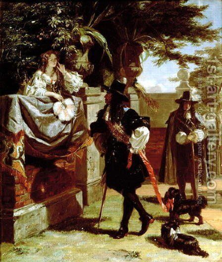 Charles II (1630-85) and Nell Gwynne (1650-87) by Edward Matthew Ward - Reproduction Oil Painting