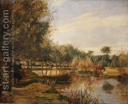 Isaak Walton Fishing, A Summers Day on the Banks of the River Colne by Edward Matthew Ward - Reproduction Oil Painting