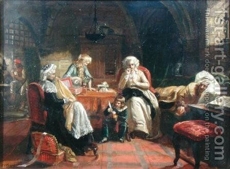 The Royal Family of France in the Temple by Edward Matthew Ward - Reproduction Oil Painting