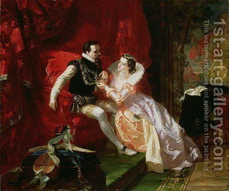 Leicester and Amy Robsart at Cumnor Hall, 1866 by Edward Matthew Ward - Reproduction Oil Painting