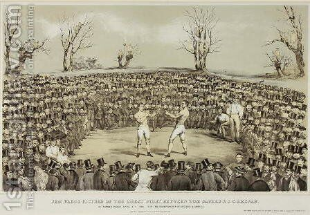 The Great Fight Between Tom Sayers and J.C. Heenen at Farnborough, 17th April 1860, engraved by Wolmoth & Lopez by (after) Ward, James - Reproduction Oil Painting