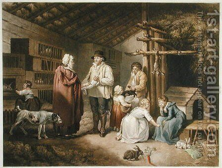 Selling Rabbits, engraved by William Ward (1766-1826) 1796 by (after) Ward, James - Reproduction Oil Painting