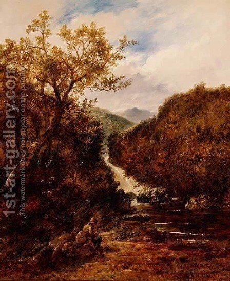Angler by a Wooded Waterfall by James Charles Ward - Reproduction Oil Painting