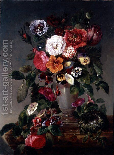 Still Life of Various Flowers in an Urn by James Charles Ward - Reproduction Oil Painting