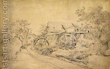 Mr Thompsons Wire Mill, Tintern, 1807 by James Ward - Reproduction Oil Painting