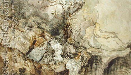 Looking Upwards from Devils Bridge, Cardiganshire by James Ward - Reproduction Oil Painting