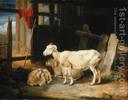 Heath Ewe and Lambs, 1810 by James Ward - Reproduction Oil Painting