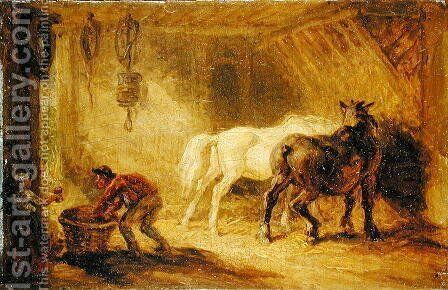 Interior of a Stable, c.1830-40 by James Ward - Reproduction Oil Painting