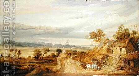 Landscape with Cottages, c.1802-07 by James Ward - Reproduction Oil Painting