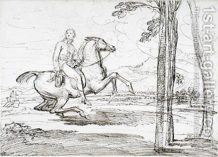 A Horseman in a Landscape, probably a study for Theophilus Levett Fox Hunting in Wychnor Park, 1814 by James Ward - Reproduction Oil Painting