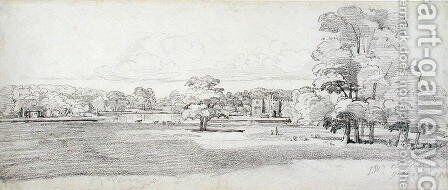 The Old Hall, Tabley, Surrounded by Parkland, 20th July 1814 by James Ward - Reproduction Oil Painting