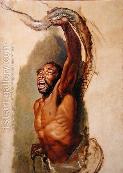 Man Struggling with a Boa Constrictor, Study for Liboya Serpent Seizing its Prey, c.1803 by James Ward - Reproduction Oil Painting