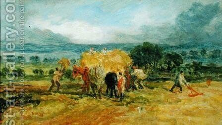 A Harvest Scene with Workers loading Hay on to a Farm Wagon by James Ward - Reproduction Oil Painting