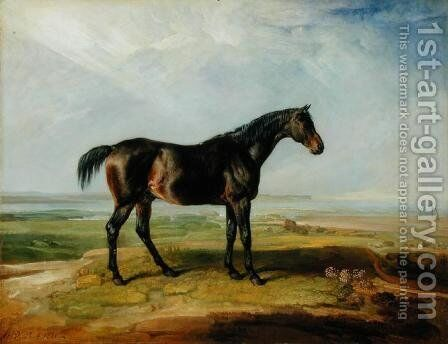 Dr. Syntax, a bay racehorse, standing in a coastal landscape, an estuary beyond by James Ward - Reproduction Oil Painting