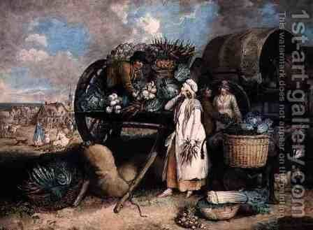 A Vegetable Market, engraved by William Ward (1766-1826), pub. by Messrs. Ward & Co., 1803 by James Ward - Reproduction Oil Painting