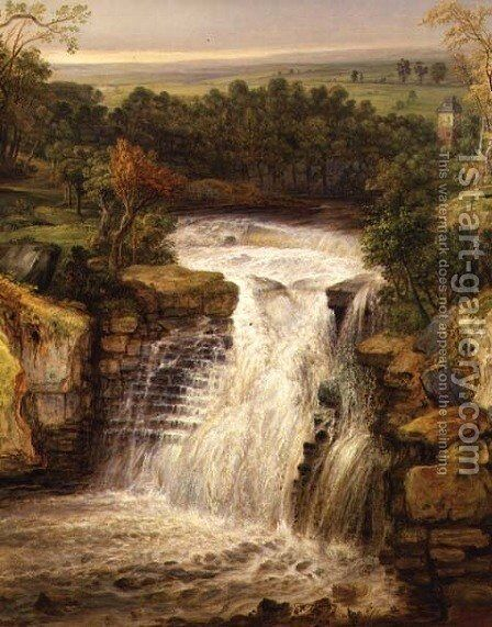 The Falls of the Clyde after a Flood by James Ward - Reproduction Oil Painting