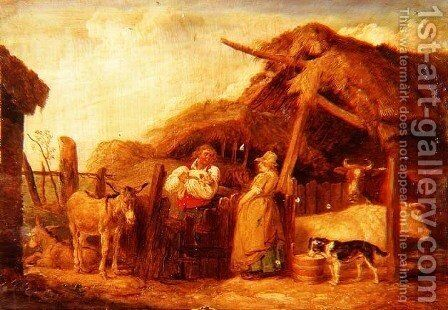 A farmer and his wife with cows, donkeys and animals by a barn in a farmyard by James Ward - Reproduction Oil Painting