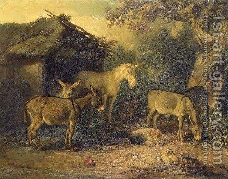 Donkeys, horse and pigs by a barn in a farmyard by James Ward - Reproduction Oil Painting